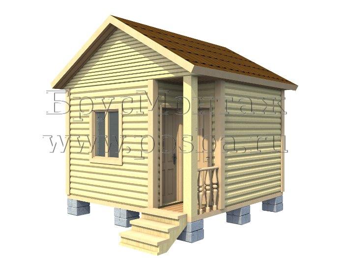 Проект «ПОД-2» – Одноэтажный дом из бруса «Под ключ» 4х4