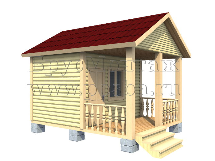 Проект «ПОД-3» – Одноэтажный дом из бруса «Под ключ» 5х4