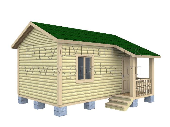 Проект «ПОД-5» – Одноэтажный дом из бруса «Под ключ» 6х4