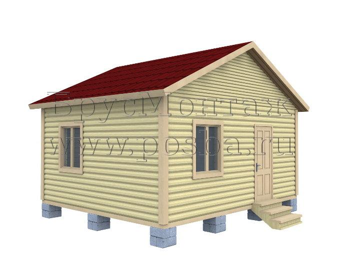 Проект «ПОД-7» – Одноэтажный дом из бруса «Под ключ» 5х7