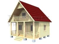 Проект двухэтажного дома из бруса 6х6 с террасой и балконом
