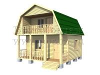 Проект двухэтажного дома 6х6 с террасой и балконом