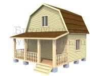 Проект двухэтажного дачного домаиз бруса 6х6 с террасой