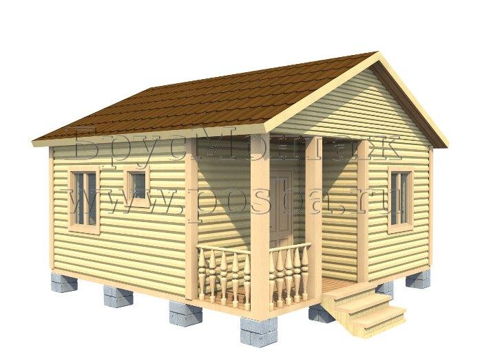 Проект «ПОД-12» – Одноэтажный дом из бруса «Под ключ» 6х6