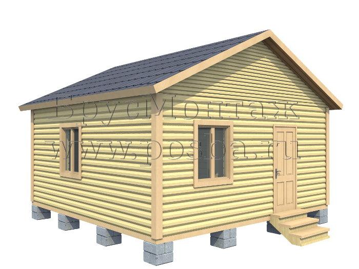 Проект «ПОД-8» – Одноэтажный дом из бруса «Под ключ» 6х6