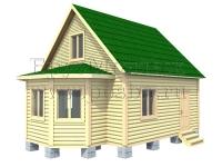 проект двухэтажного дома из бруса 6 на 6 с эркером и мансардой