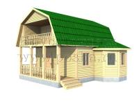 Проект двухэтажного дома 6х8 с террасой и эркером
