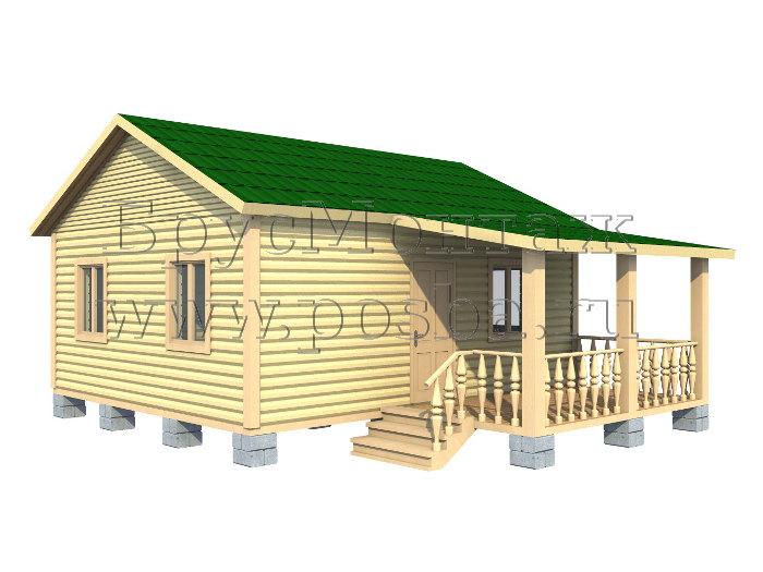 Одноэтажный дом из бруса «Под ключ» 7 на 6