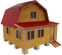 Проект двухэтажного дачного дома 6х6 с верандой