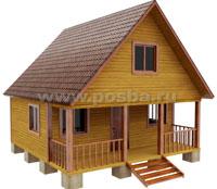 Проект двухэтажного дачного дома 6х6 с террасой